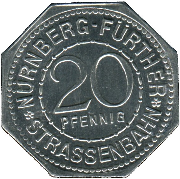 Germany 20 Pfennig (The Woman's Gate, the southeast main gate of the Nürnberg city walls-Nürnberg-Fürther)