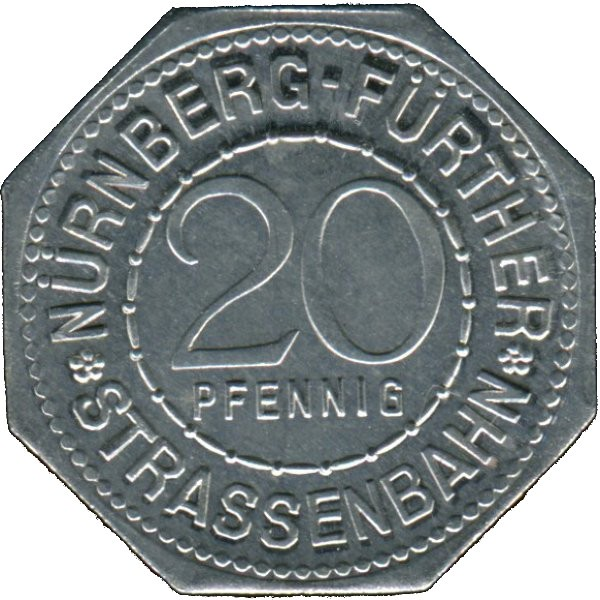 Germany 20 Pfennig (The Charles Bridge-Nürnberg-Fürther)