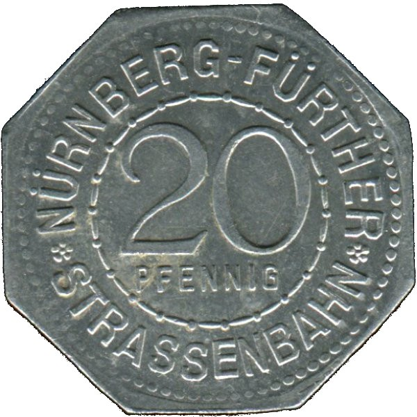 Germany 20 Pfennig (Luginsland-Nürnberg-Fürther)