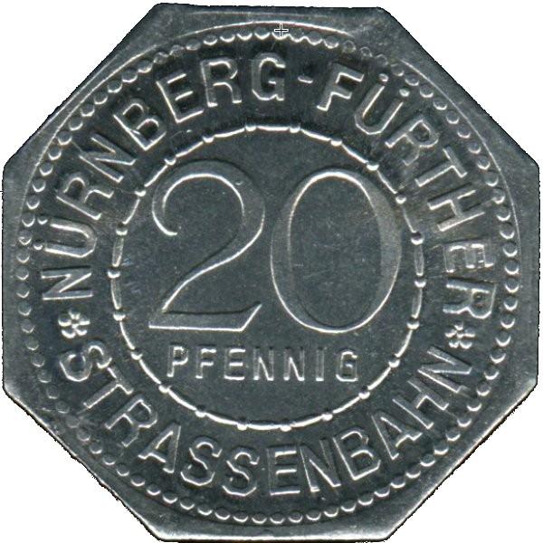Germany 20 Pfennig (Nassauer Haus-Nürnberg-Fürther)