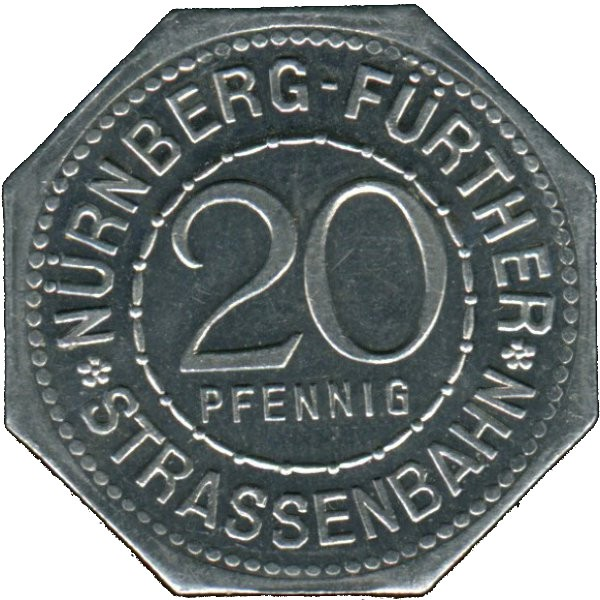 Germany 20 Pfennig (The Neptune Fountain in Nürnberg-Nürnberg-Fürther)