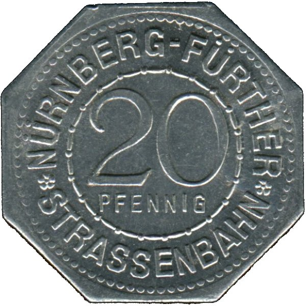 Germany 20 Pfennig (The New Gate tower/kennel-Nürnberg-Fürther)