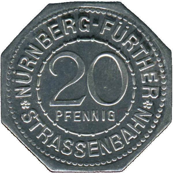 Germany 20 Pfennig (The Nuremberg Castlen-Nürnberg-Fürther)