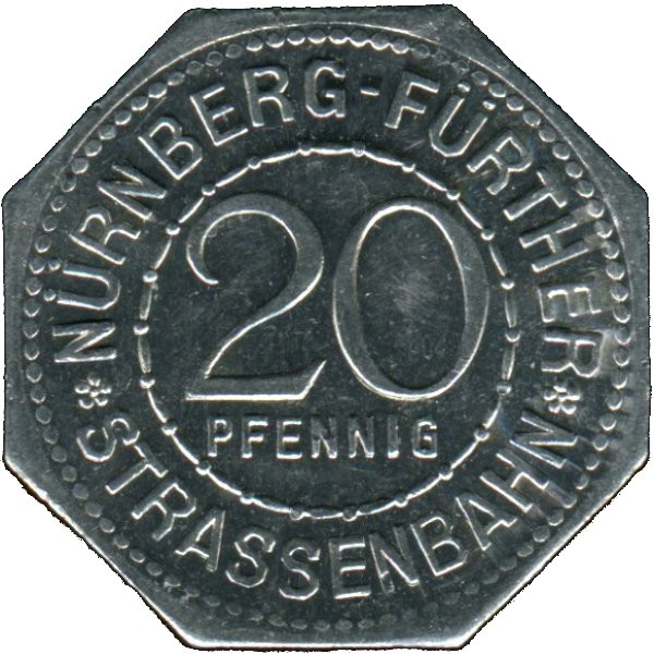 Germany 20 Pfennig (The Fürth City Hall-Nürnberg-Fürther)