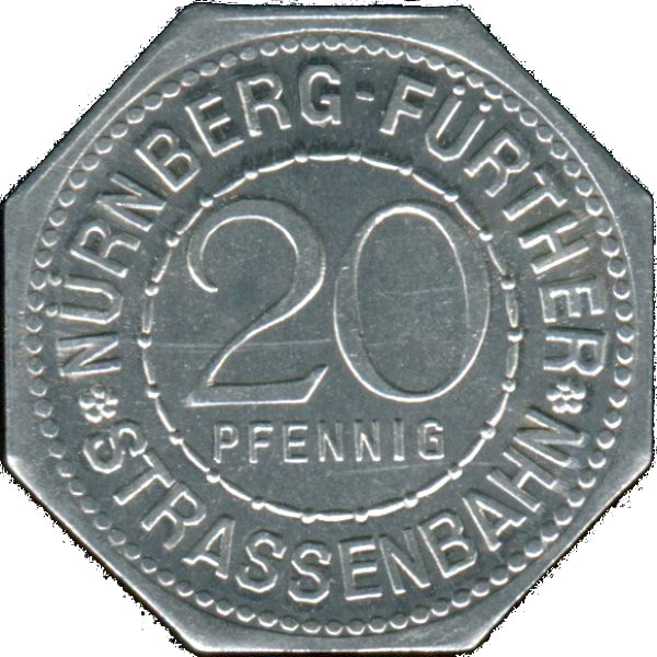 Germany 20 Pfennig (Legend Surrounding Inner Circle Containing Value-Nürnberg-Fürther)