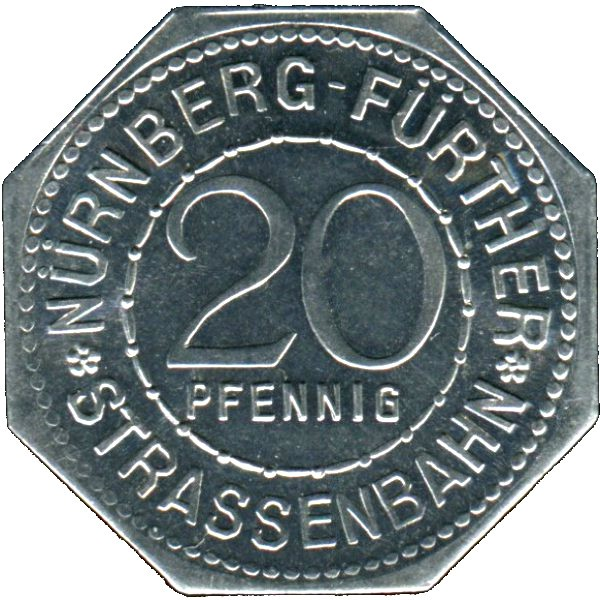 Germany 20 Pfennig (The Fountain of the Virtues-Nürnberg-Fürther)