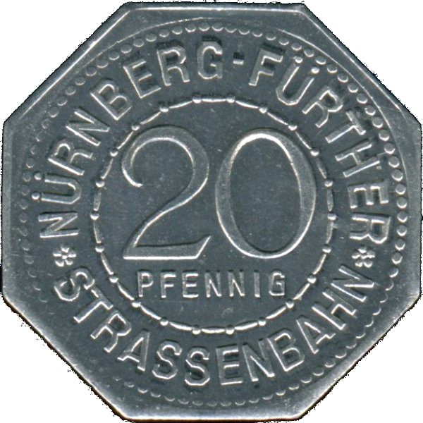 Germany 20 Pfennig (Vestner Gate-Nürnberg-Fürther)