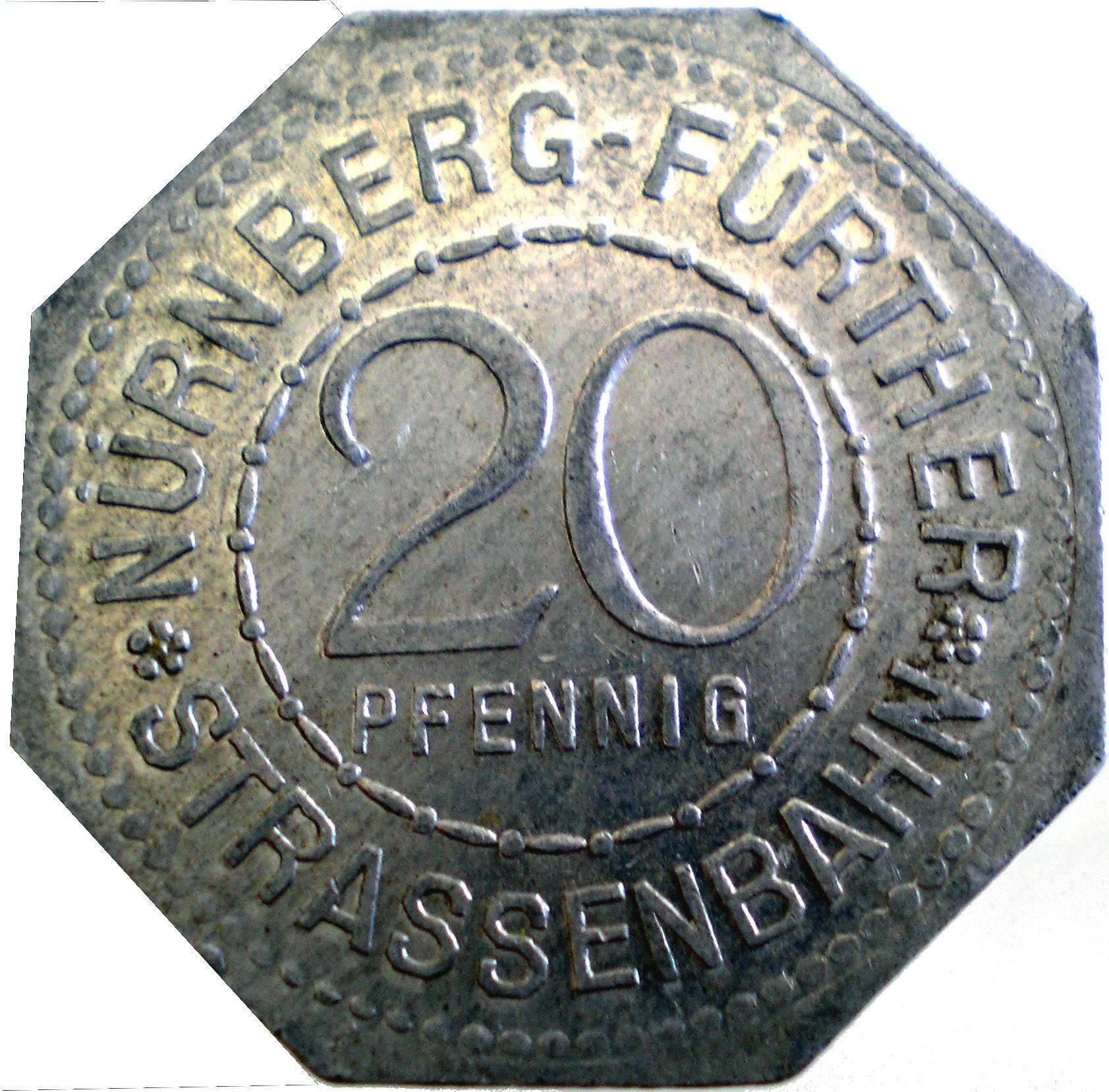 Germany 20 Pfennig (White Tower-Nürnberg-Fürther)