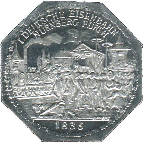 Germany 20 Pfennig (The inauguration of the Bavarian Ludwig Railway-Nürnberg-Fürther)