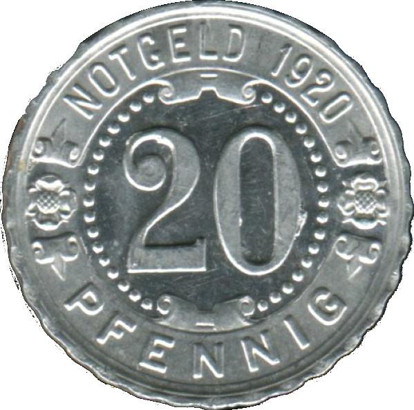 1920 Germany 20 Pfennig (Nürnberg-Fürther)