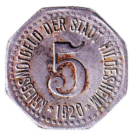 Germany 5 Pfennig  (1920 Hildesheim)
