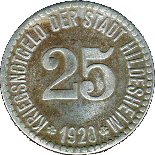 Germany 25 Pfennig  (1920 Hildesheim)