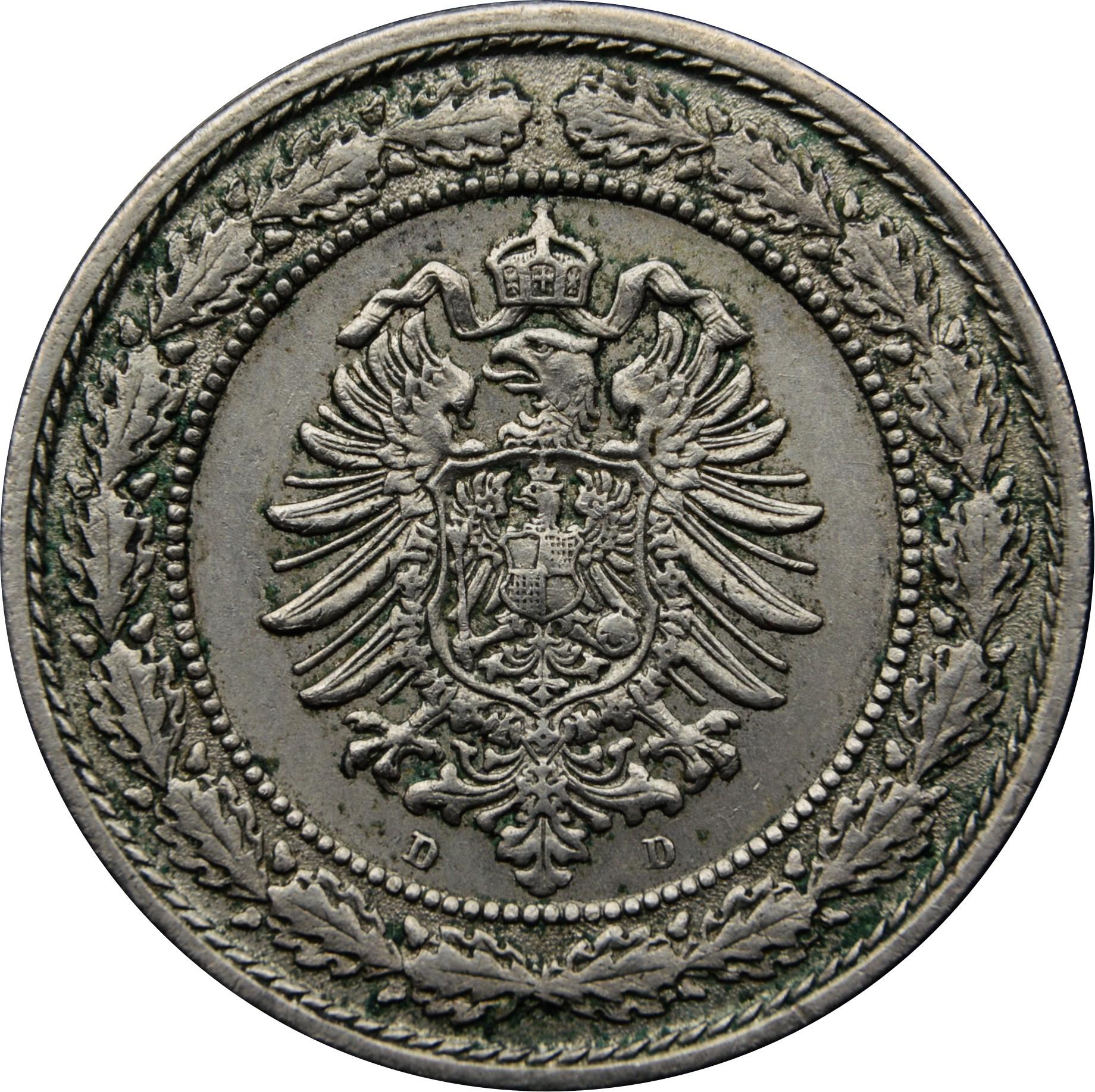 Germany 20 Pfennig  (1887-1888 Wilhelm I)
