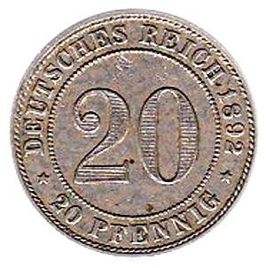 Germany 20 Pfennig  (1890-1892 Wilhelm II)
