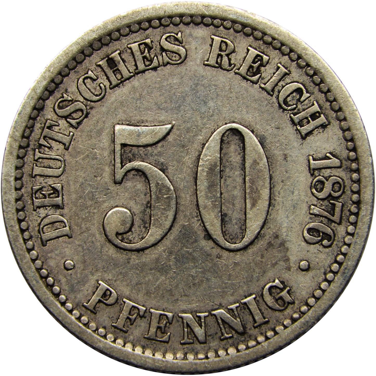 Germany 50 Pfennig  (1875-1877 Wilhelm I)