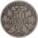 Germany 50 Pfennig  (1877-1878 Wilhelm I)