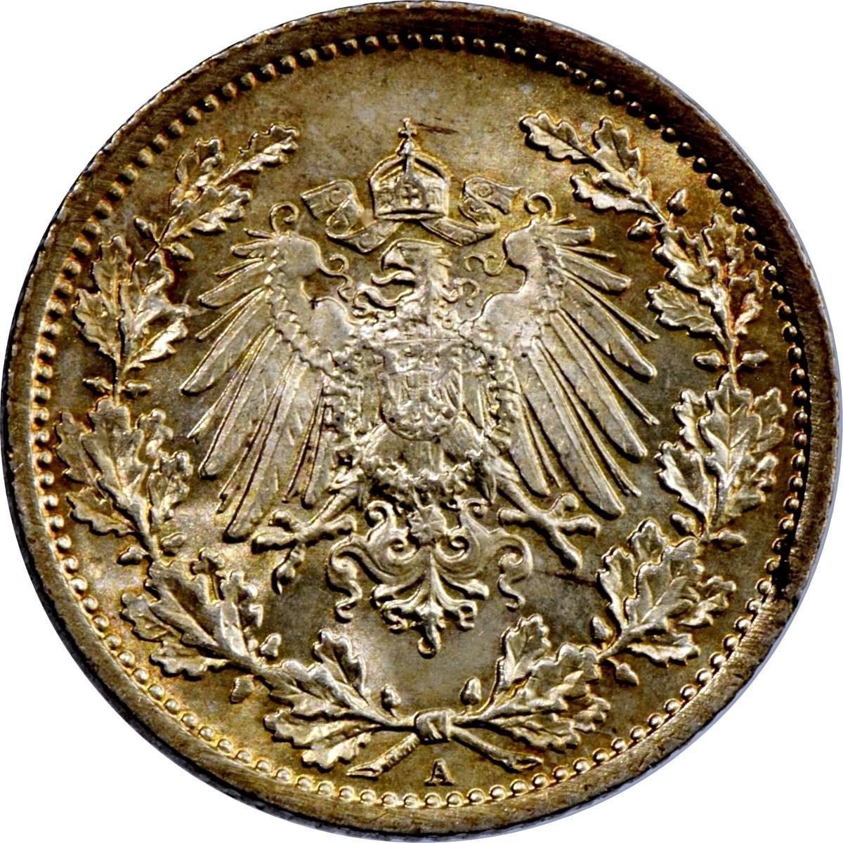 Germany ½ Mark  (1905-1919 Wilhelm II)