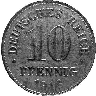 Germany 10 Pfennig  (1915-1922 Wilhelm II)