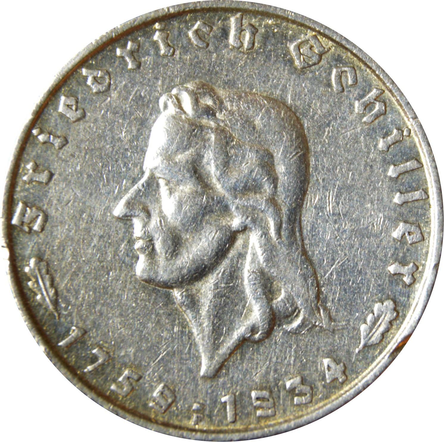 Germany 2 Reichsmark (1934 Friedrich Schiller)