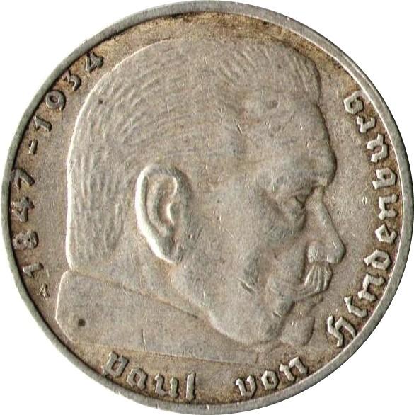 Germany 2 Reichsmark (1936-1939 Paul von Hindenburg)