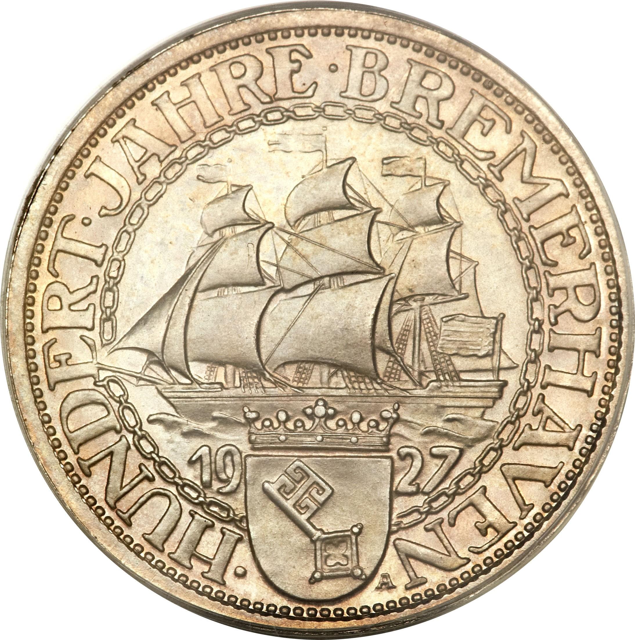 Germany 3 Reichsmark (1927 Bremerhaven)