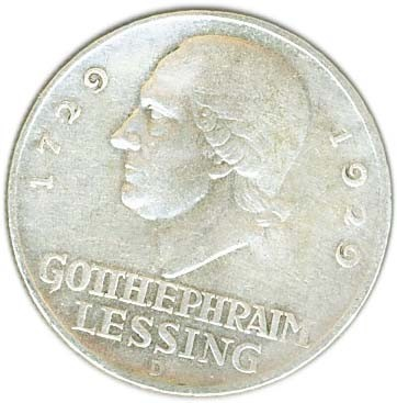 Germany 3 Reichsmark (1929 Lessing)