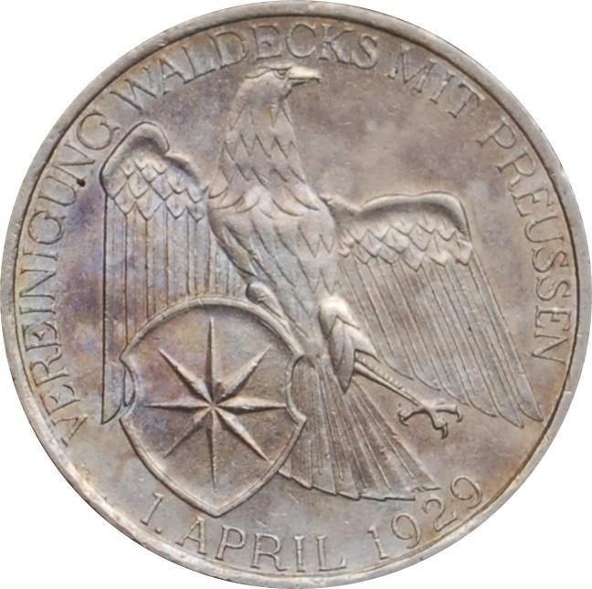 Germany 3 Reichsmark (1929 Vereinigung Waldeck)