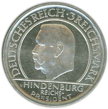 Germany 3 Reichsmark (1929 Weimar Constitution)
