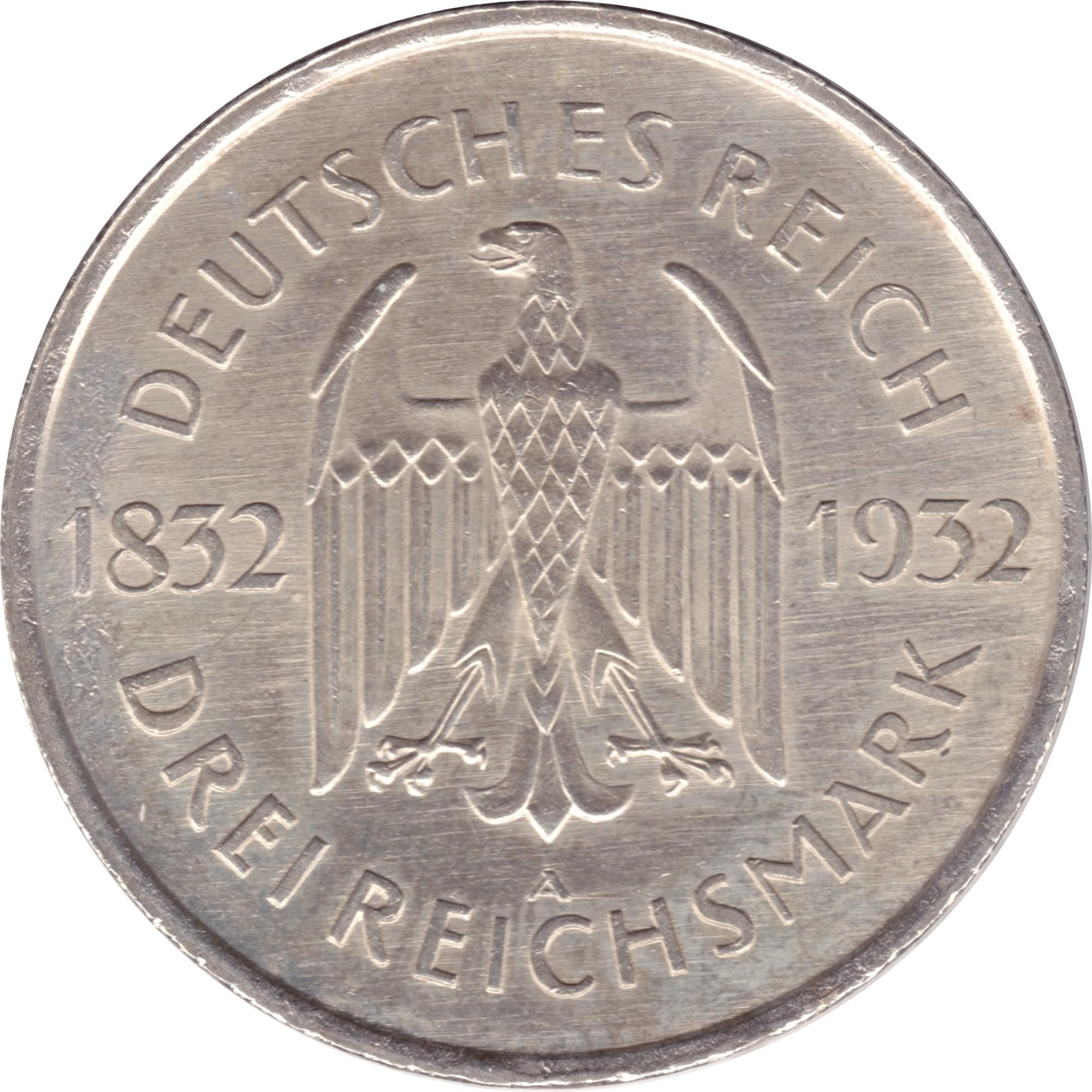 Germany 3 Reichsmark (1932 Goethe)