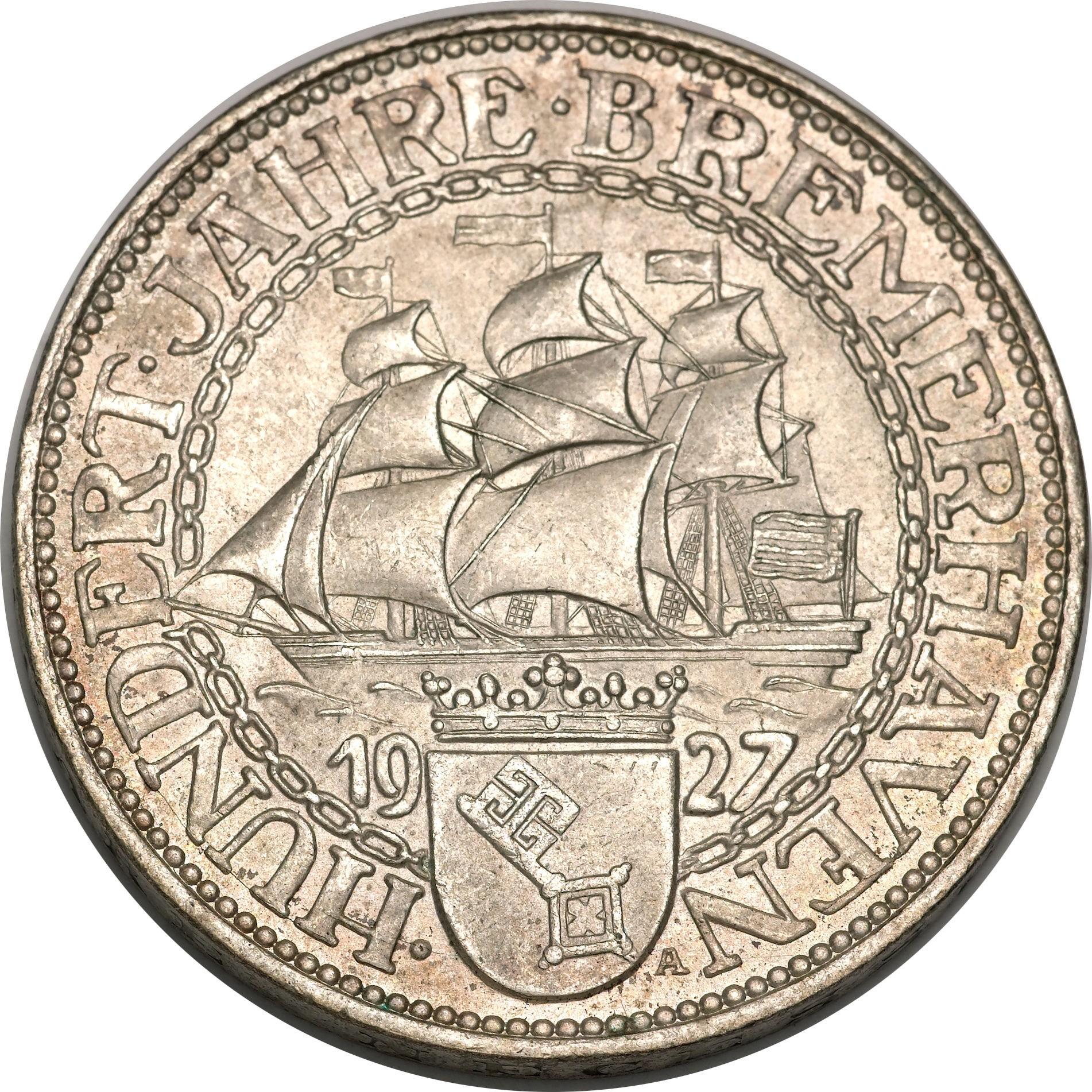 Germany 5 Reichsmark (1927 Bremerhaven)