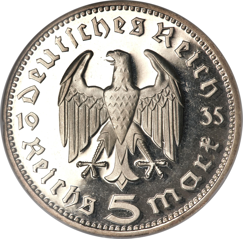 Germany 5 Reichsmark (1935-1936 Paul von Hindenburg)