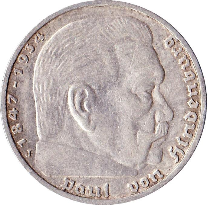 Germany 5 Reichsmark (1936-1939 Paul von Hindenburg)