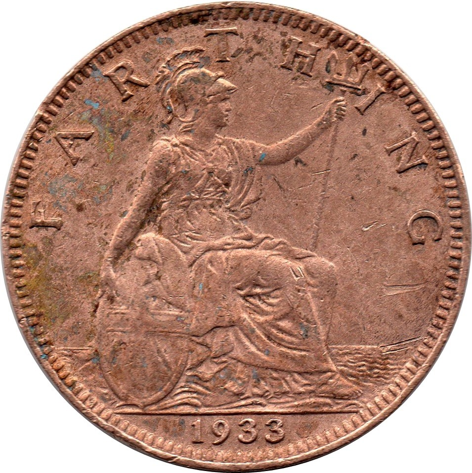 British 1 Farthing (1926-1936 George V Modified Effigy)