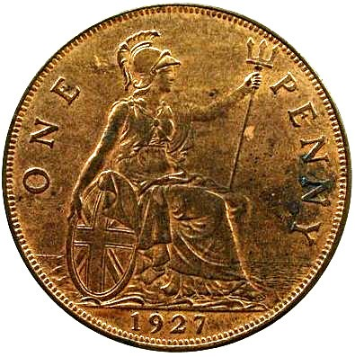 British 1 Penny (1926-1927 George V Modified Effigy)