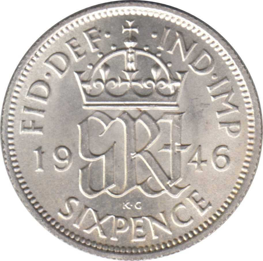 British 6 Pence (1937-1946 George VI)