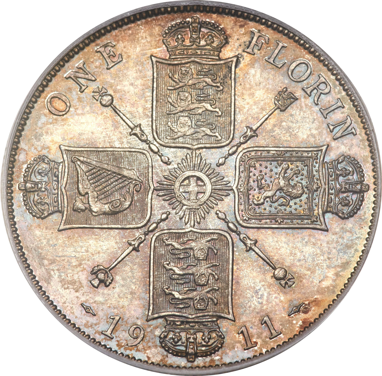 British 1 Florin (1911-1919 George V)