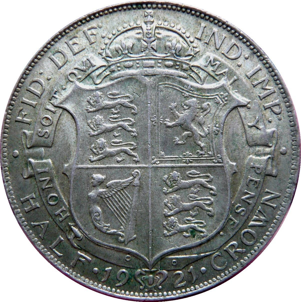 British ½ Crown (1920-1926 George V)