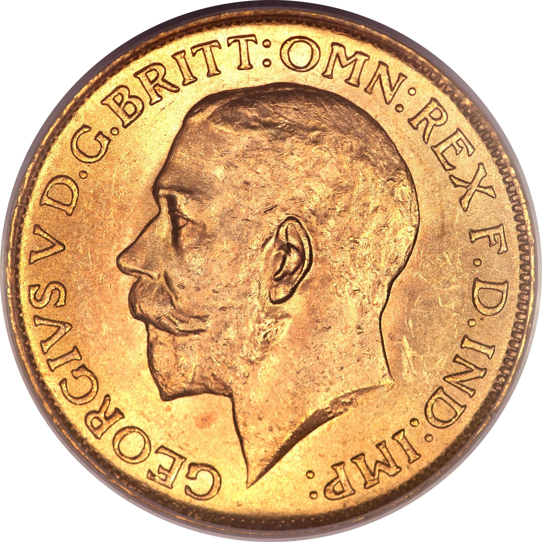 British 1 Sovereign (1911-1919 George V-Ottawa Mint)