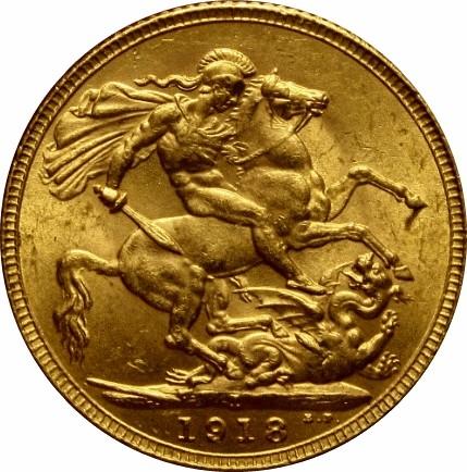 British 1 Sovereign (1918 George V-Bombay Mint)