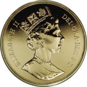British 5 Pounds (1987-1988 Elizabeth II-Modified Effigy)