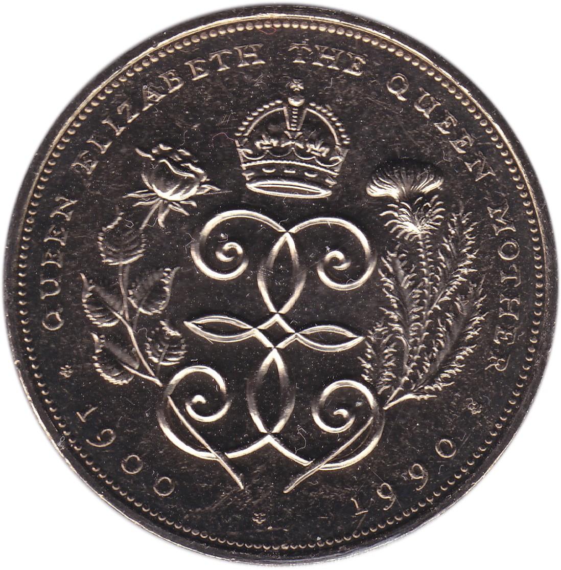 British 5 Pounds (1990 Elizabeth II-Queen Mother)