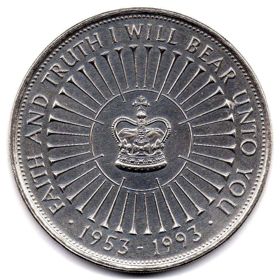 British 5 Pounds (1993 Elizabeth II-Coronation Jubilee)