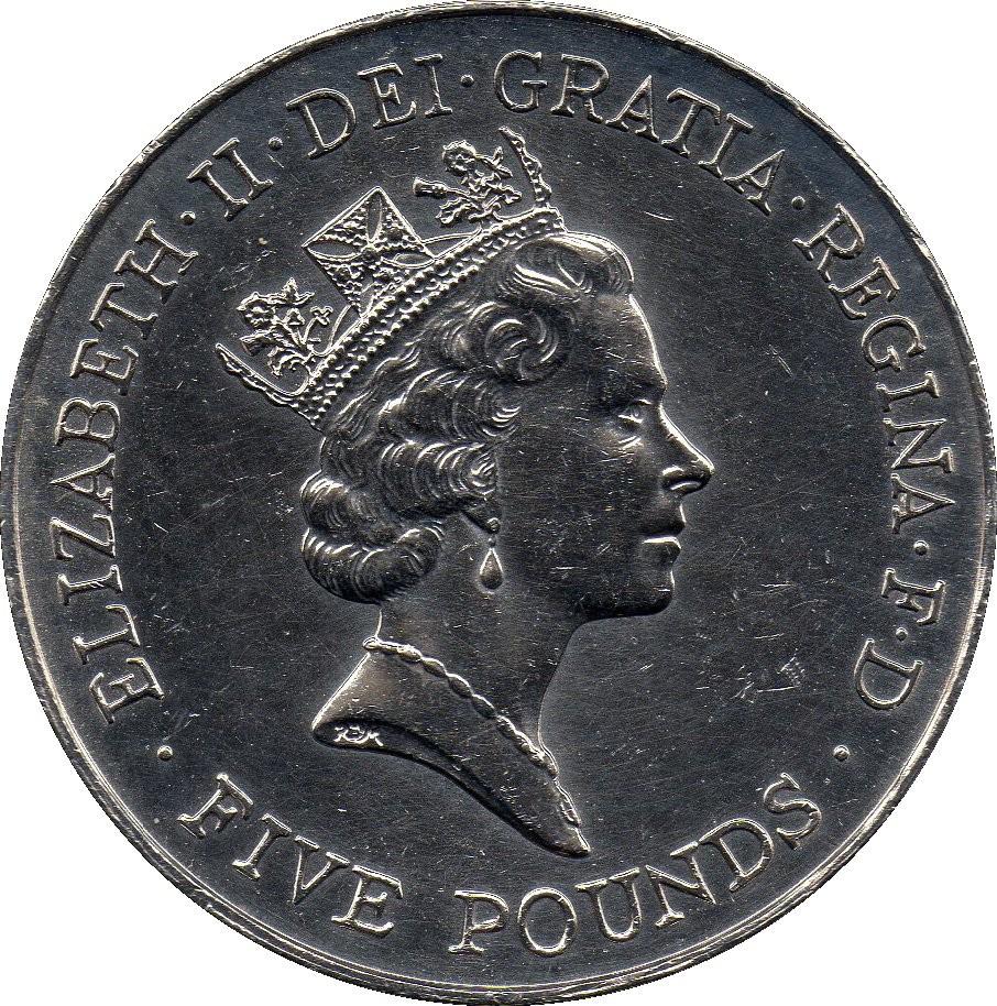 British 5 Pounds (1996 Elizabeth II-Queen's Birthday)