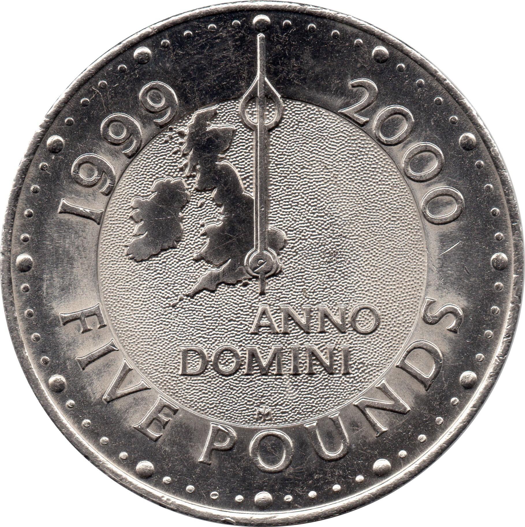 British 5 Pounds (1999-2000 Elizabeth II-Diana, Millennium)