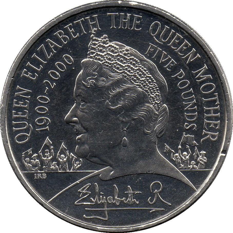 British 5 Pounds (2000 Elizabeth II-Queen Mother)