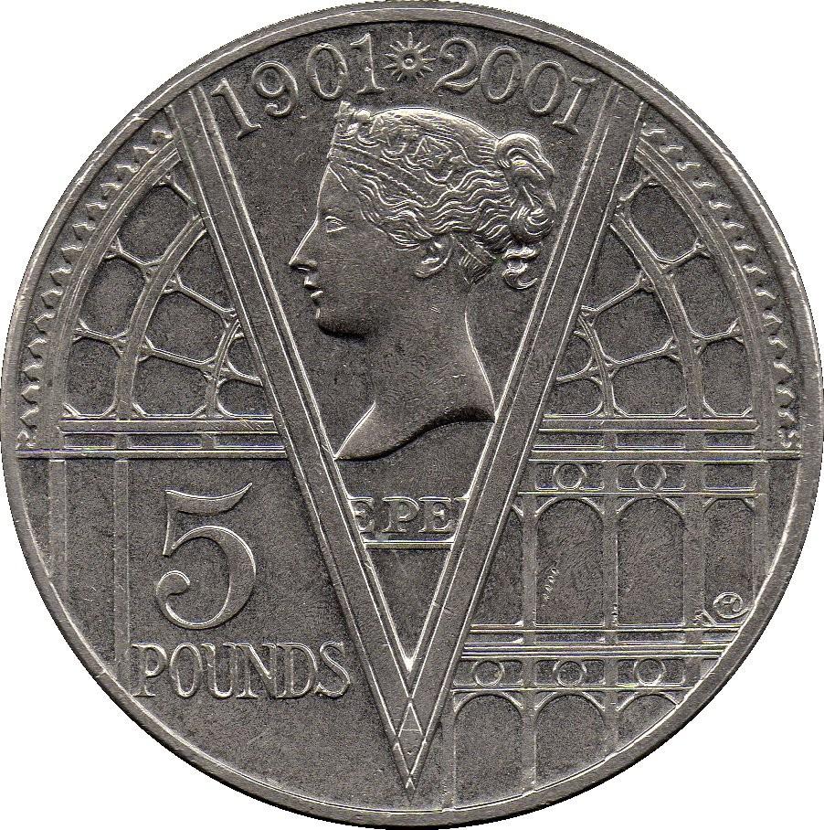 British 5 Pounds (2001 Elizabeth II-Queen Victoria)