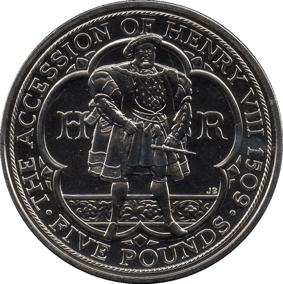 British 5 Pounds (2009 Elizabeth II-King Henry VIII)
