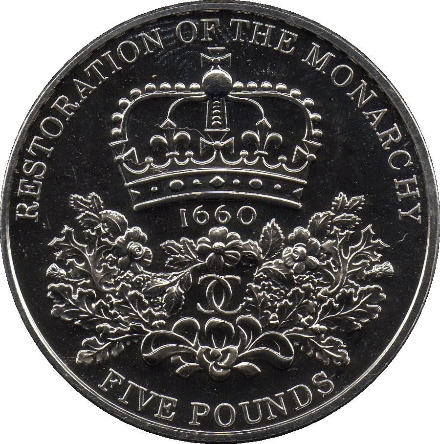 British 5 Pounds (2010 Elizabeth II-Restoration of the Monarchy)