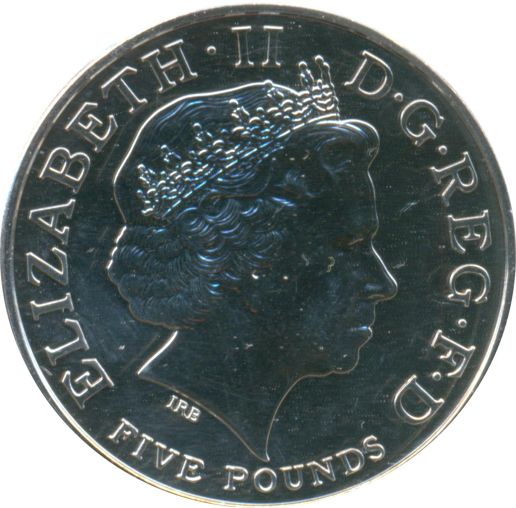 British 5 Pounds (2013 Elizabeth II-Royal Christening)