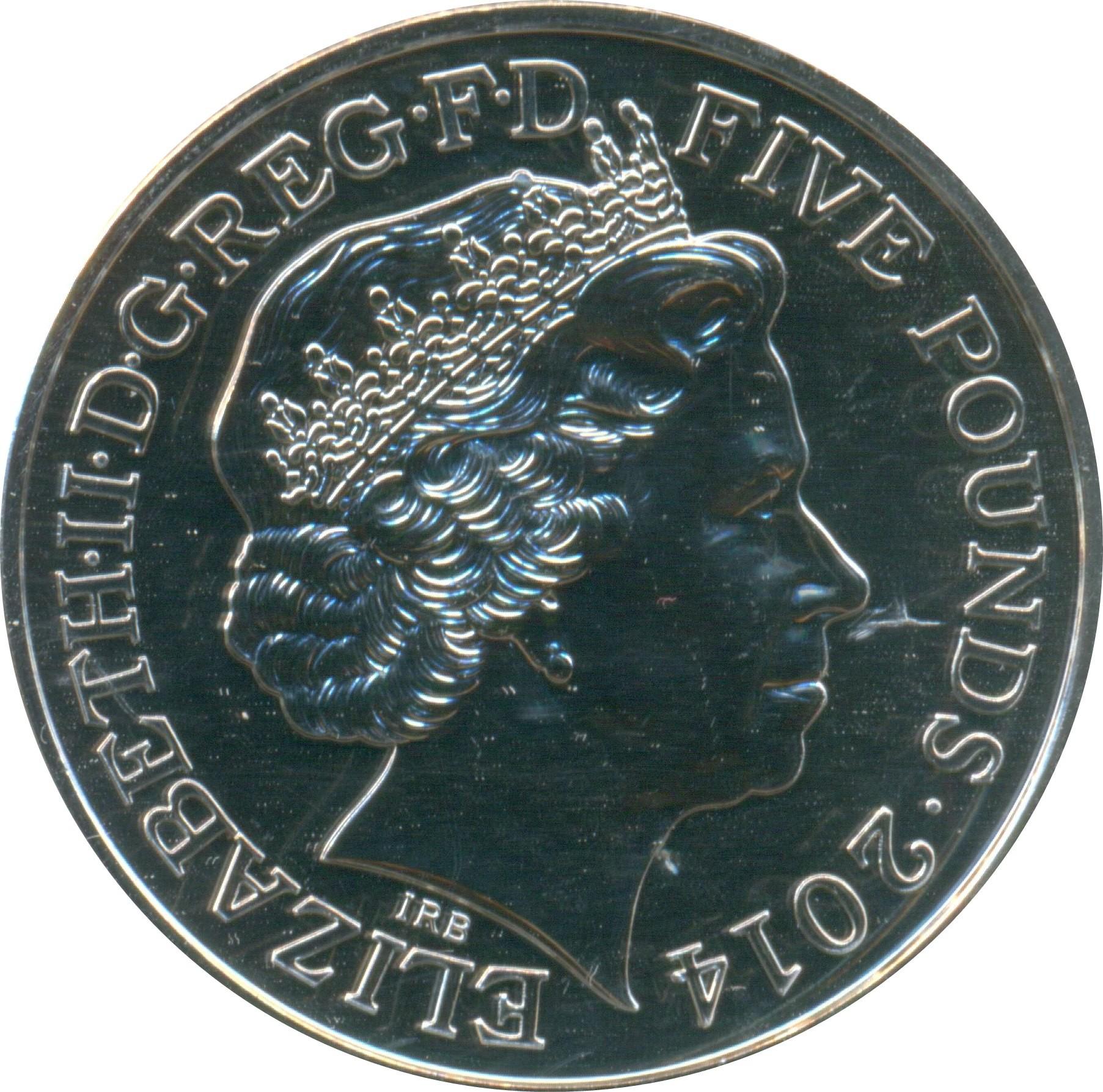 British 5 Pounds (2014 Elizabeth II-Queen Anne)